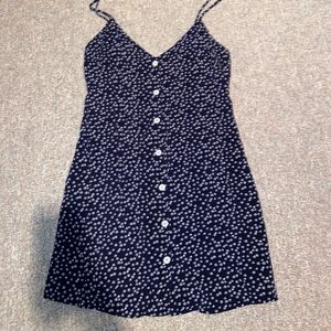 Navy dress with white floral pattern